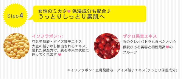 Step4 女性のミカタ保湿成分も配合、うっとりしっとり素肌へ イソフラボン(*)豆乳発酵液・ダイズエキス大豆の種子から抽出されるエキス。優れた保湿力で、肌を本来の状態に保ってくれます。 ザクロエキス:あのクレオパトラも食べたという伝説がある美容と相性最高のフルーツ *イソフラボン:豆乳発酵液・ダイズエキス(うっとり保湿成分)